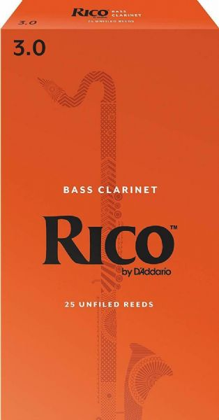 Rico 3.0 Strength Reeds for Bass Clarinet (Pack of 25) - REA2530